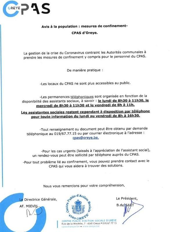 lettre confinement CPAS Oreye